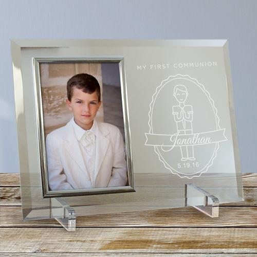 Engraved First Communion Beveled Glass Picture Frame-Personalized Gifts