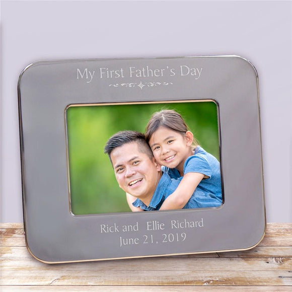 Engraved First Father's Day Silver Picture Frame-Personalized Gifts