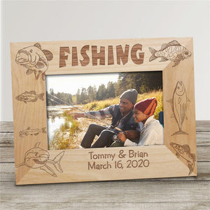 Engraved Fishing Wood Picture Frame-Personalized Gifts