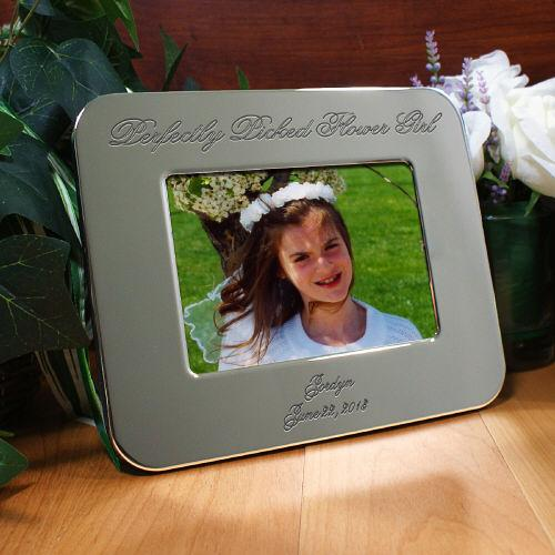 Engraved Flower Girl Silver Picture Frame-Personalized Gifts