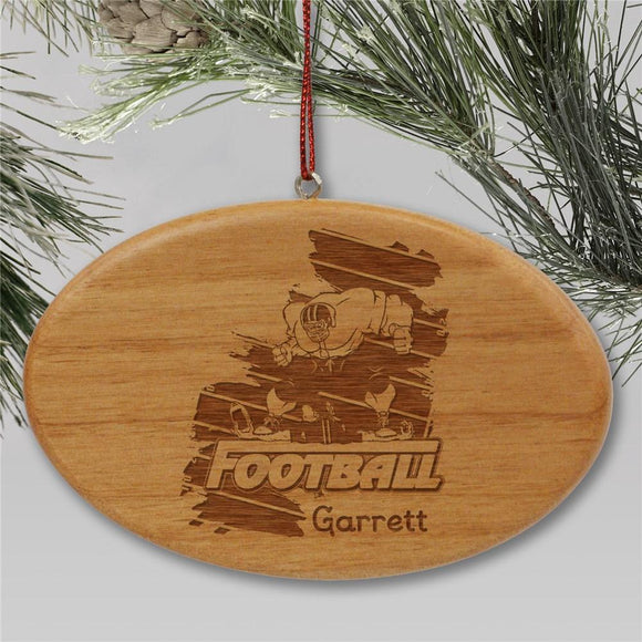 Engraved Football Player Holiday Ornament-Personalized Gifts