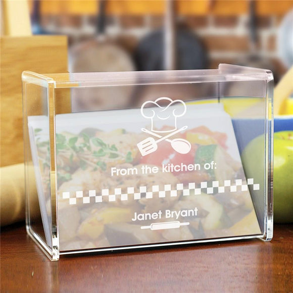 Engraved From The Kitchen Of Acrylic Recipe Box-Personalized Gifts