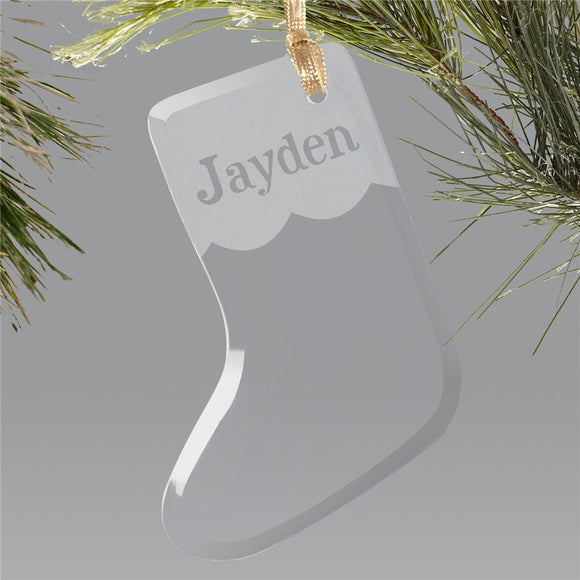 Engraved Glass Stocking Holiday Ornament-Personalized Gifts