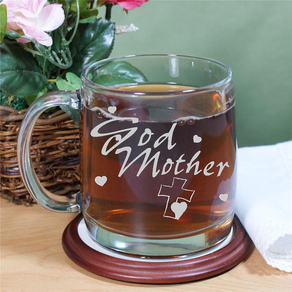 Engraved Godmother Glass Mug-Personalized Gifts