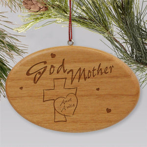 Engraved Godmother Wooden Oval Holiday Ornament-Personalized Gifts