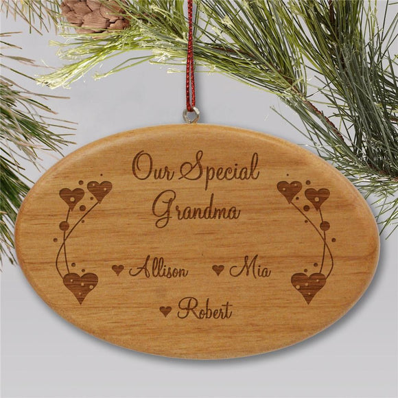 Engraved Grandma Wooden Oval Christmas Ornament-Personalized Gifts