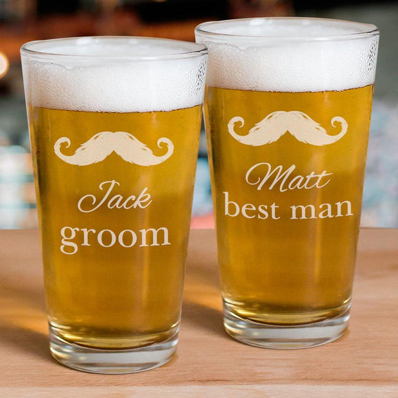 Engraved Groomsmen Beer Glass-Personalized Gifts