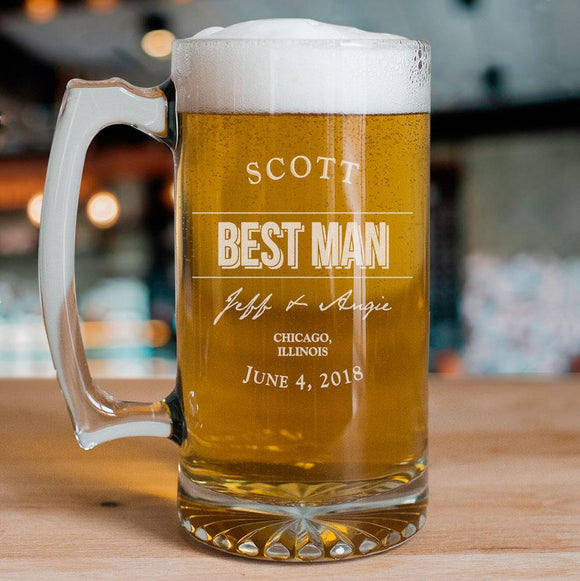 Engraved Groomsmen Glass Mug-Personalized Gifts