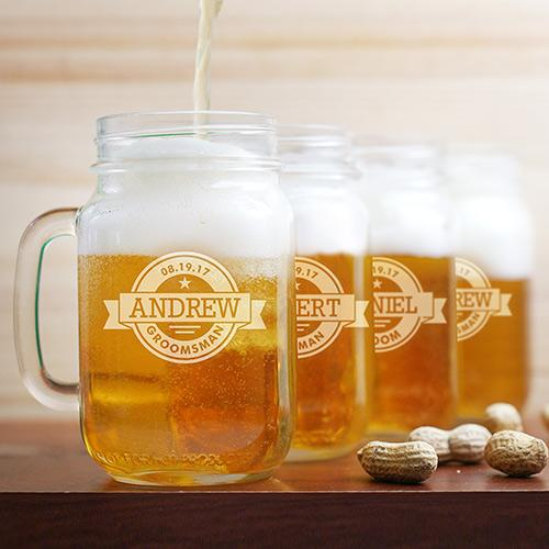 Engraved Groomsmen Mason Jar-Personalized Gifts