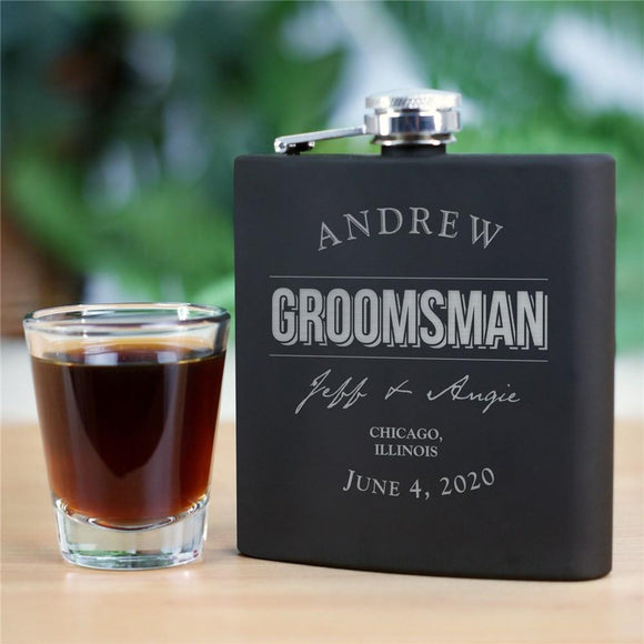 Engraved Groomsmen Steel Flask-Personalized Gifts