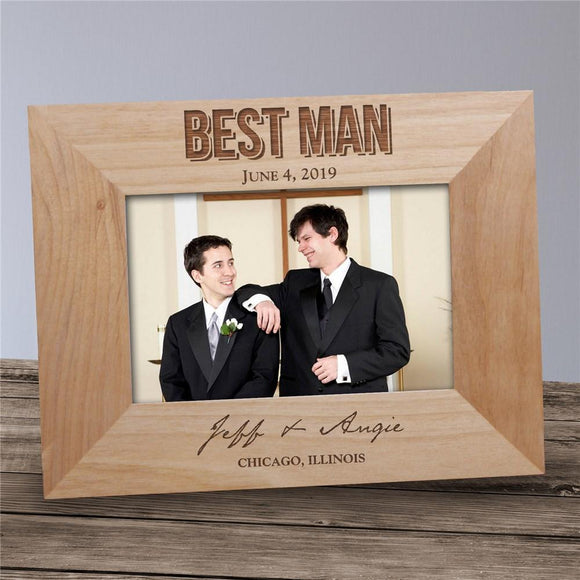 Engraved Groomsmen Wood Picture Frame-Personalized Gifts