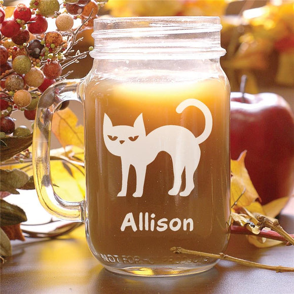 Engraved Halloween Cat Mason Jar-Personalized Gifts