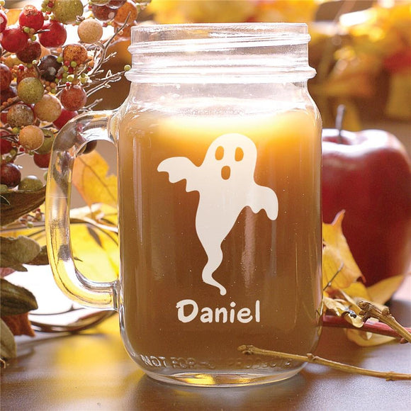 Engraved Halloween Ghost Mason Jar-Personalized Gifts