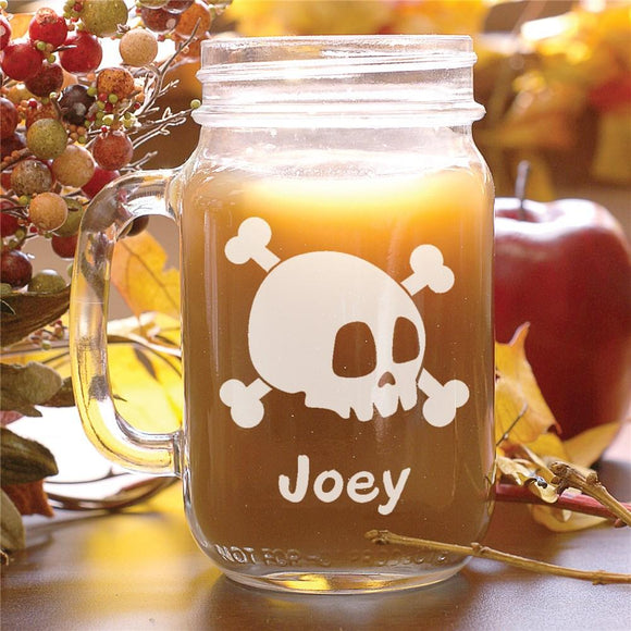 Engraved Halloween Skull Mason Jar-Personalized Gifts