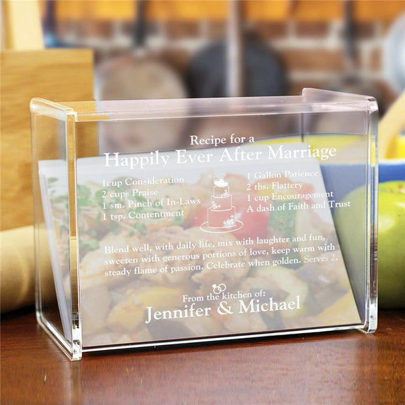 Engraved Happily Ever After Acrylic Recipe Box-Personalized Gifts