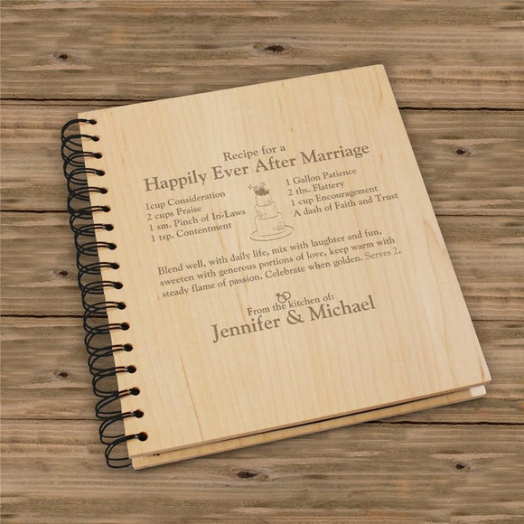 Engraved Happily Ever After Recipe Card Holder-Personalized Gifts