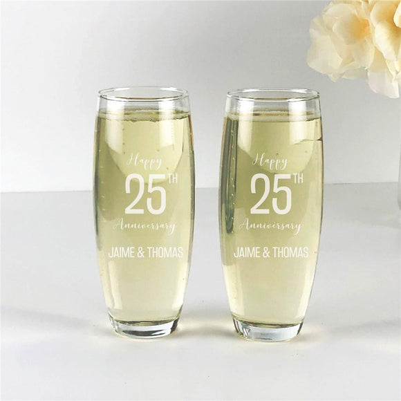 Engraved Happy Anniversary Stemless Flute Set-Personalized Gifts