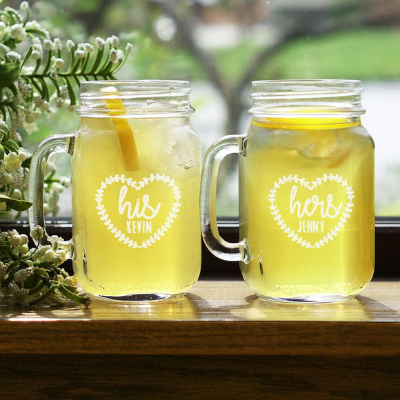 Engraved His and Hers Heart Mason Jar Set-Personalized Gifts