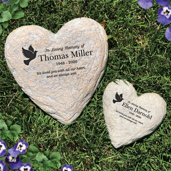 Engraved In Loving Memory Dove Heart Garden Stone-Personalized Gifts