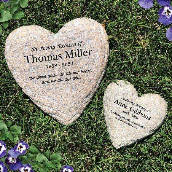 Engraved In Loving Memory Heart Stone-Personalized Gifts