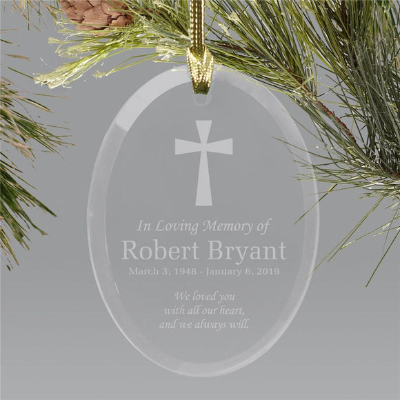 Engraved In Loving Memory Holiday Ornament | Glass-Personalized Gifts