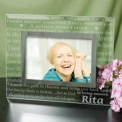 Engraved In Loving Memory Memorial Glass Frame-Personalized Gifts