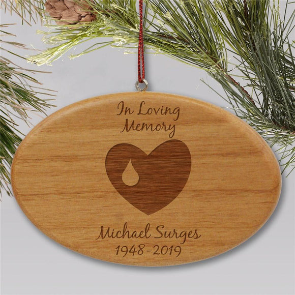 Engraved In Loving Memory Memorial Ornament | Wooden Oval-Personalized Gifts