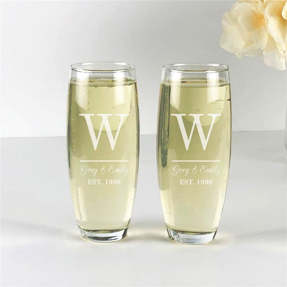 Engraved Initial And Couples Names Stemless Flute Set-Personalized Gifts