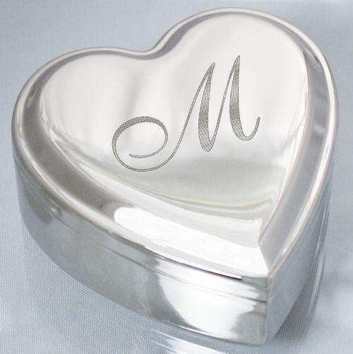 Engraved Initial Silver Heart Jewelry Box-Personalized Gifts