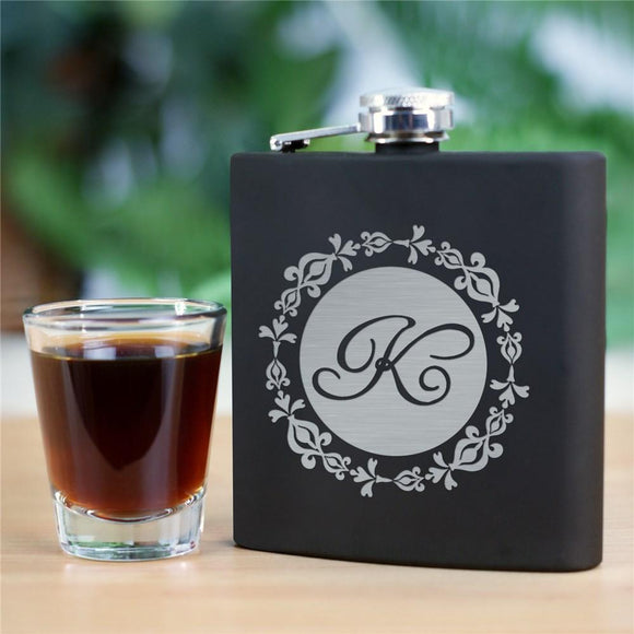 Engraved Initial Steel Flask-Personalized Gifts