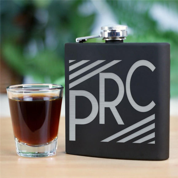 Engraved Initials Steel Flask-Personalized Gifts