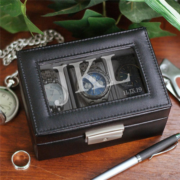 Engraved Initials Watch Box-Personalized Gifts