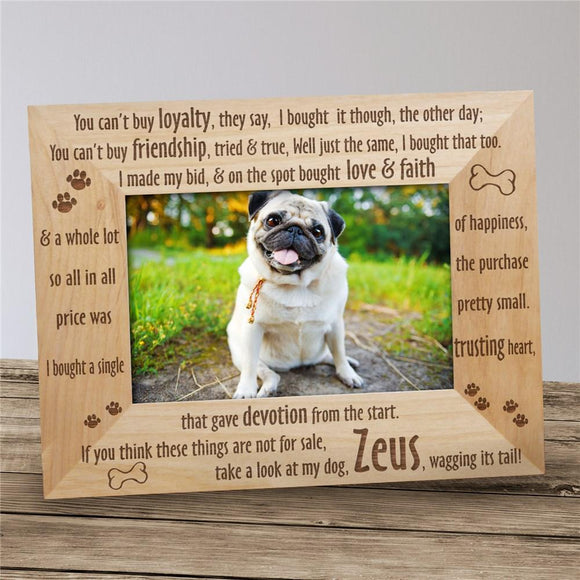 Engraved Loyal Dog Wood Picture Frame-Personalized Gifts