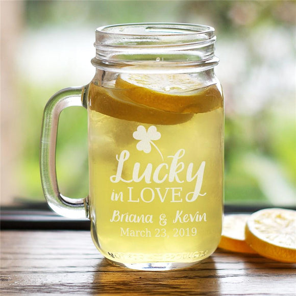 Engraved Lucky In Love Mason Jar-Personalized Gifts