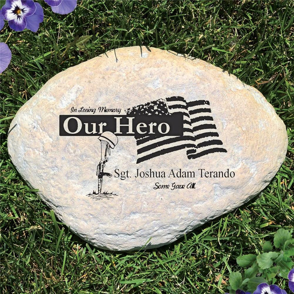 Engraved Military Memorial Garden Stone-Personalized Gifts