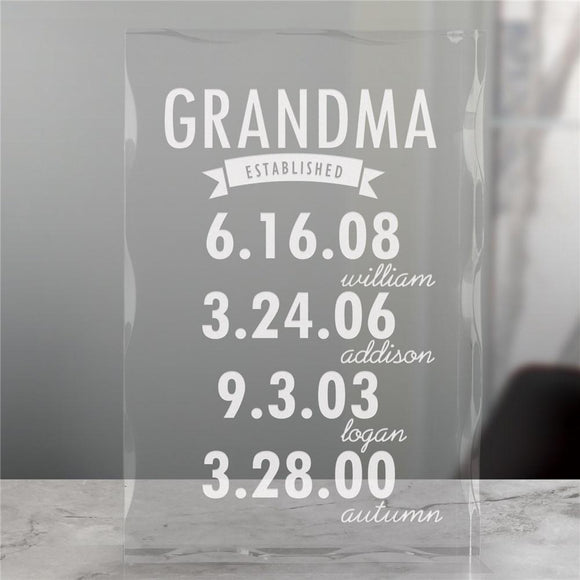 Engraved Mom Established Acrylic Keepsake-Personalized Gifts