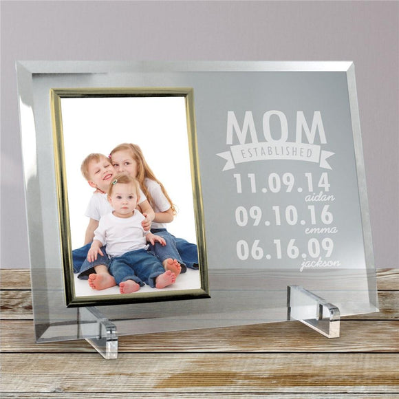 Engraved Mom Established Glass Frame-Personalized Gifts