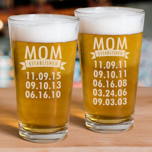 Engraved Mom Established Glass-Personalized Gifts