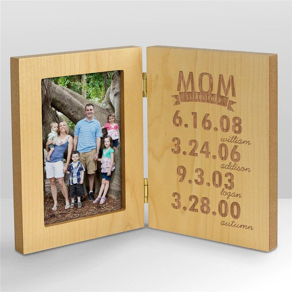 Engraved Mom Established Wood Frame-Personalized Gifts
