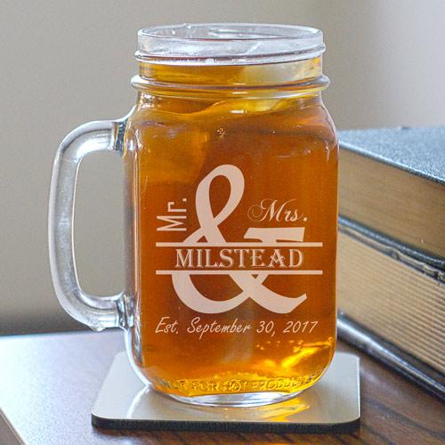 Engraved Mr. and Mrs. Mason Jar-Personalized Gifts