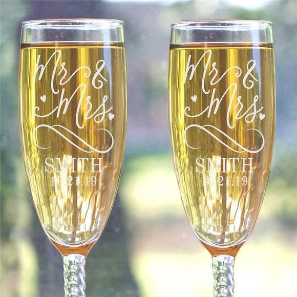 Engraved Mr & Mrs Twisted Stem Flute-Personalized Gifts