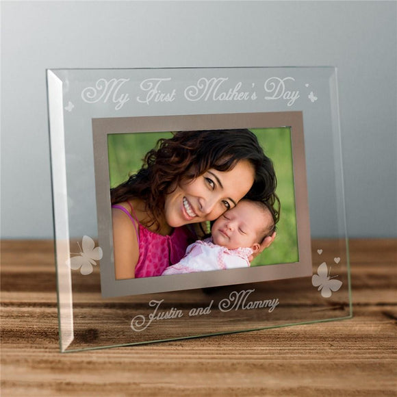 Engraved My First Mother's Day Glass Frame-Personalized Gifts