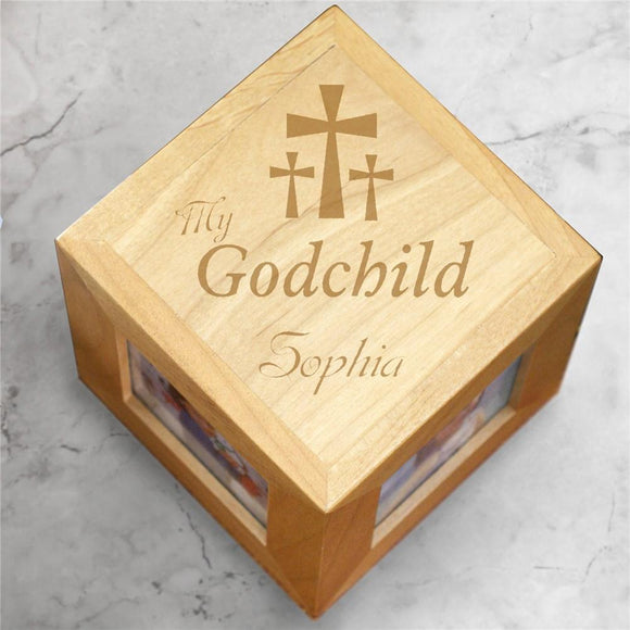 Engraved My Godchild Wood Photo Cube-Personalized Gifts