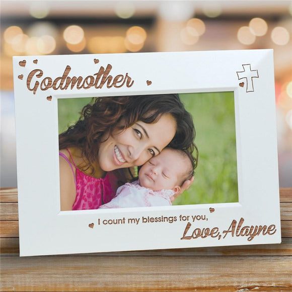 Engraved My Godmother White Picture Frame-Personalized Gifts