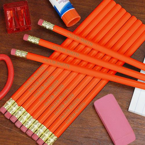 Engraved Orange School Pencils-Personalized Gifts