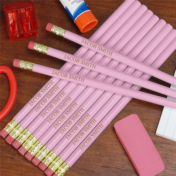 Engraved Pink School wood Pencils-Personalized Gifts