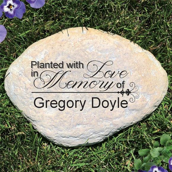 Engraved Planted With Love Memorial Garden Stone-Personalized Gifts