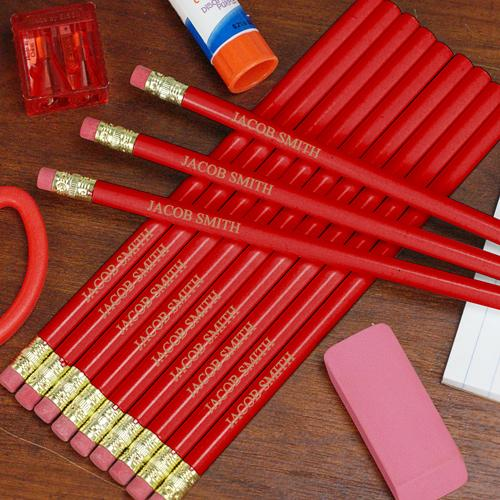 Engraved Red School Pencils-Personalized Gifts