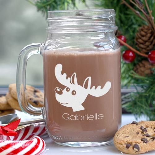 Engraved Reindeer Mason Jar-Personalized Gifts