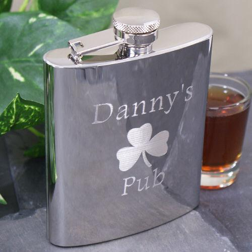 Engraved Shamrock Pub Flask-Personalized Gifts